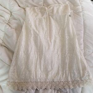 Roxy Strapless Dress, Crochet, Off-White, Medium